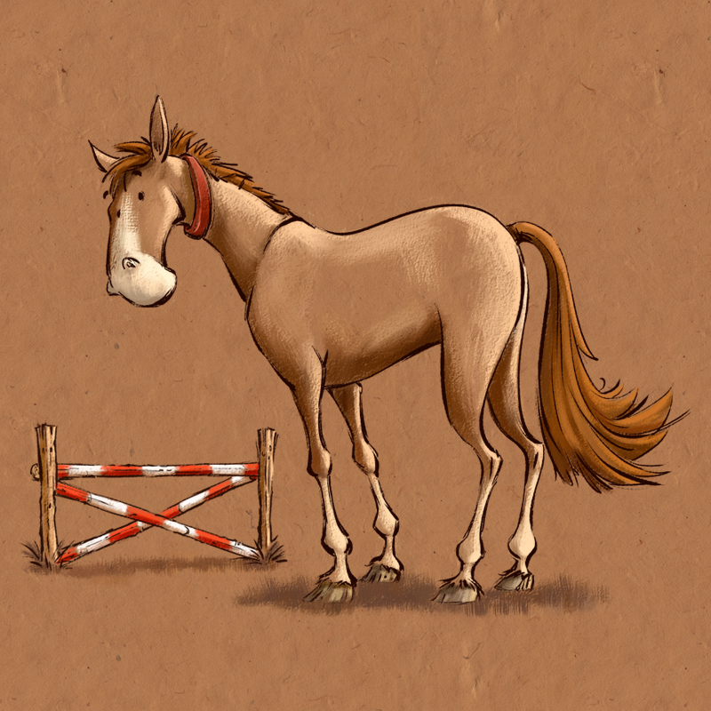 Illustration Horses Wearing Fly Repellent Collar